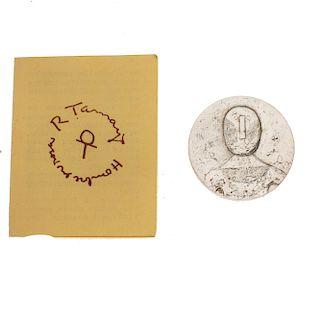 Medalla conmemorativa al artista Rufino Tamayo en plata .900. 38mm. Peso: 28.0 g.