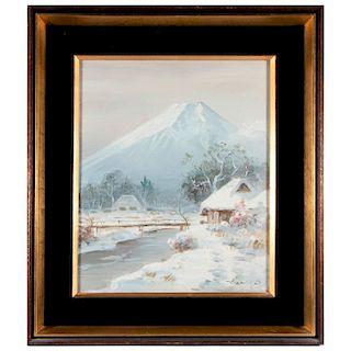Oil on canvas landscape.