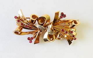 18K Ribbon Brooch with Rubies & Diamonds