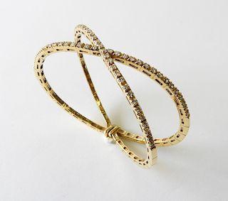18K Yellow Gold & Diamond X Bangle Bracelet