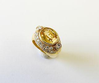 18k Yellow Gold & Citrine Dinner Ring