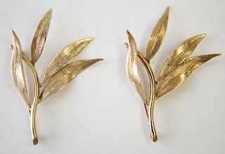 Two 14K Yellow Gold Branch Brooches