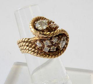 14K Rope Twist & Diamond Ring