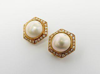 Mobe Pearl & Diamond Earrings