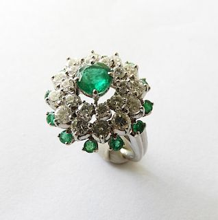 Cartier Lady's Emerald & Diamond Cluster Ring