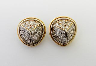 Pave Diamond Trisected Design Earrings