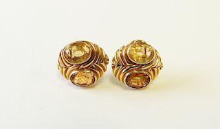 18K Yellow Gold & Citrine Earrings