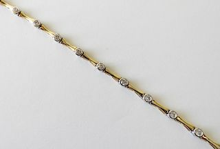 14K White and Yellow Gold Tennis Bracelet