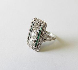 Art Deco Style Diamond & Emerald Cocktail Ring