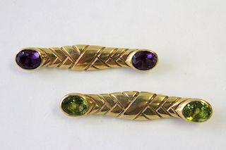 Pair of 18K Scale Design Bar Pins