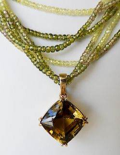 Multi Strand Necklace with ~30 ct Citrine Pendant