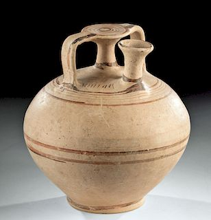 Greek Mycenaean Pottery Stirrup Jar