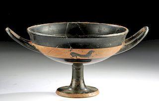 Greek Attic Black-Figure Stemmed Lip Cup w/ Lions