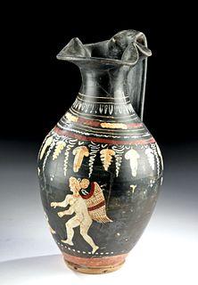 Wonderful Greek Gnathian Ceramic Oinochoe - Eros & Swan