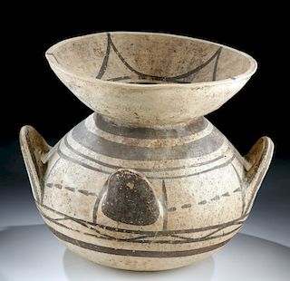 Intact Greek Daunian Pottery Funnel Krater