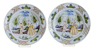 Pair Delft Polychrome Dishes with