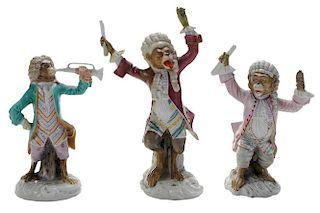 Three Porcelain Monkey Band Figures