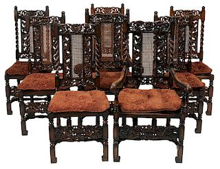 Set of Eight Baroque Style Carved