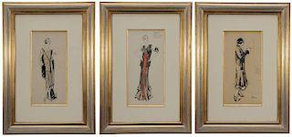 Three Fashion Drawings