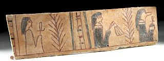 Egyptian Wood & Painted Gesso Coffin Panel Fragment