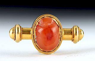 18K Gold Pin w/ Greek Carnelian Scarab, ex- Christie's