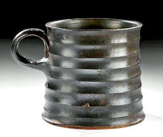 Greek Campanian Glazed Pottery Mug w/ Ribs