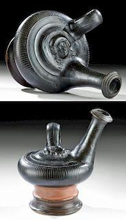 Large Greek Campanian Glazed Pottery Guttus w/ Female