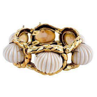 Vintage Coral and 14K Bracelet