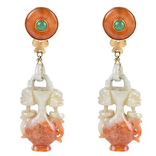 Vintage Jade, Carnelian and 14K Earrings.