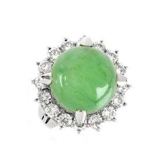 Jade, Diamond and Platinum Ring