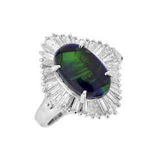 Black Opal and Diamond Platinum Ring