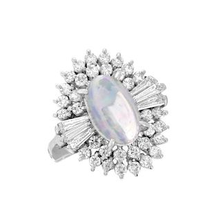 Opal, Diamond and Platinum Ring