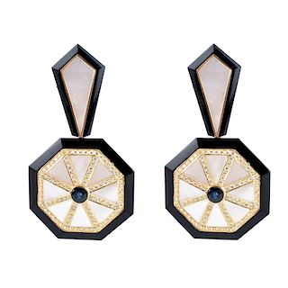 Art Deco style Diamond, Sapphire, MOP Earrings