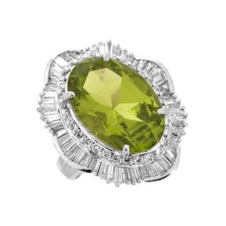 Peridot, Diamond and Platinum Ring