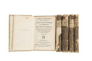 Andrés Morell, Juan. Cartas Familiares del Abate D. Juan Andrés Dandole Noticia del Viage que hizo a Italia 1785. Madrid, 1791-93 Pzs:5