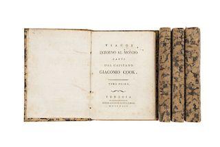 Cook, James. Viaggi Intorno al Mondo Fatti dal Capitano Giacomo Cook. Venezia: Presso Antonio Zatta E Figli, 1794. Pzs: 4.