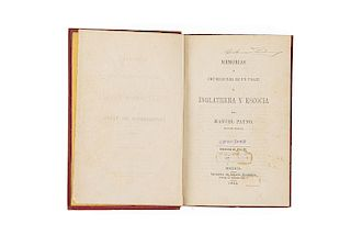 Payno, Manuel. Memorias e Impresiones de un Viaje a Inglaterra y Escocia. México: Imprenta de Ignacio Cumplido, 1853.