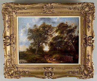 19thc. British School Oil, Pastoral Landscape