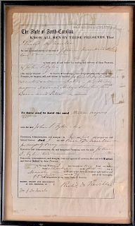 Bill of Sale of Slaves, South Carolina Dated 1855