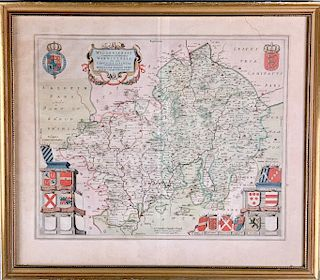 Antique map of Worcestershire by Willem Janszoon Blaeu
