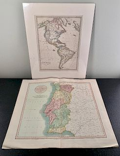 Two Atlas Maps; Portugal and the Americas