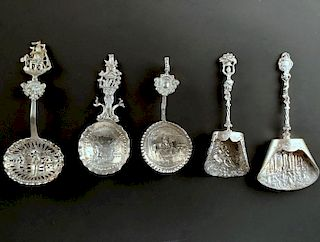 Five Dutch Silver Caddy Spoons