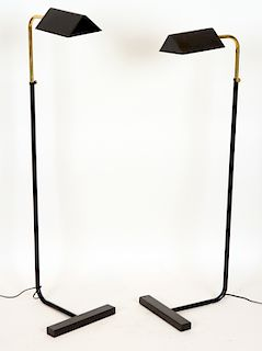 PAIR BRASS IRON FLOOR LAMPS MANNER CEDRIC HARTMAN