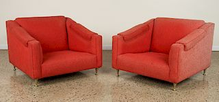 PAIR LOW SLUNG UPHOLSTERED CLUB CHAIRS CIRCA 1950