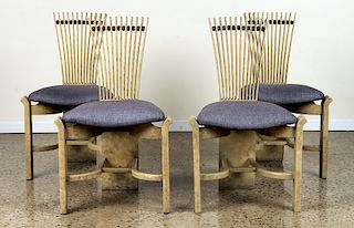 SET 4 PAINTED SLAT BACK DINING CHAIRS C.1960