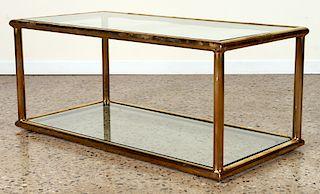 ELEGANT TWO TIER BRASS GLASS COFFEE TABLE C.1970