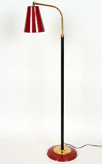 ADJUSTABLE IRON BRASS FLOOR LAMP PAINTED SHADE