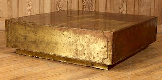 PATINATED BRASS PANEL MOUNTED COFFEE TABLE C.1965