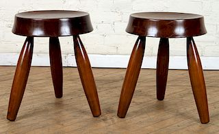 PAIR MODERN WOOD STOOLS WITH CONCAVE SEATS
