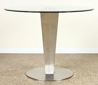 MODERN BRUSHED STEEL TABLE BASE BEVELED GLASS TOP